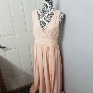 Size large peach chiffon pleated empire maxi dress